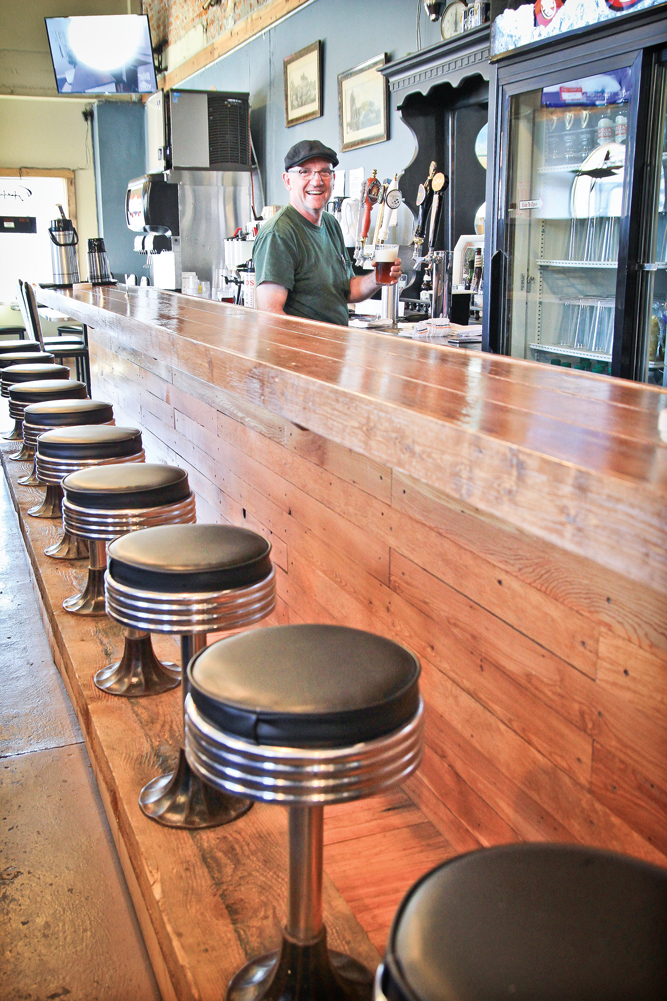 Pete is especially proud of the Tribune bar. The barstools are Roy's Tavern originals from the 1950's.